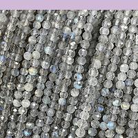 Labradorita facetada de 3 mm, tira de 115 piedras aprox.