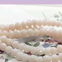 Cristal facetado en color crema  de 6 mm, tira de 94 cristales aprox