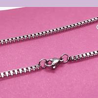 Collar acero cuadrado, 2 mm de ancho, 50 cm de largo, por unidad.