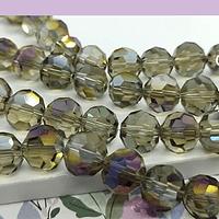 Cristal redondo facetado de 8 mm, en tonos grises tornasol, tira de 40 cristales aprox.