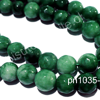 Agata 8 mm, en tonos verdes, tira de 48 piedras aprox.