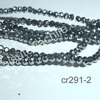 Cristal facetado plateados de 2 x 2 mm, tira de  190 cristales