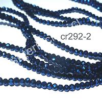 Cristal facetado azul brillante de 2 x 2 mm, tira de 190 cristales