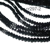 Cristal facetado negro de 2 x 2 mm, tira de 190 cristales