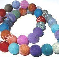 Agata frosting 10 mm, multicolor celeste, rojo, rosados y morados, tira de 38 piedras aprox