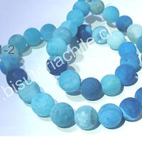 Agata frosting 10 mm, multicolor en colores celestes, tira de 38 piedras aprox.