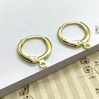 Base de aro baño de oro, 13 mm de diámetro, por par