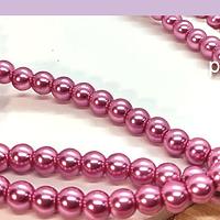 perla de fantasía rosado fuerte de 6mm , perla 155 perlas aprox.