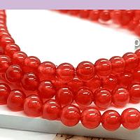 Jade calcedonia color rojo de 6 mm, tira de 63 piedras aprox.