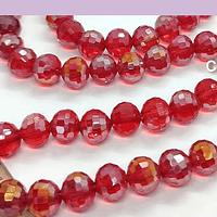 Cristal facetado especial rojo tornasol, de 8 mm, set de  20 unidades