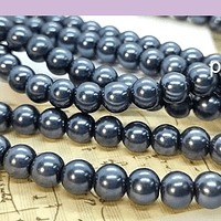 perla de fantasía gris oscuro de 6mm , perla 155 perlas aprox.