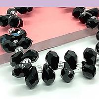 Cristal gota negro facetado, primera calidad, 9x 6 mm, set de 12 cristales