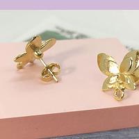Base de aro baño de oro en forma de mariposa, 28 x 14 mm, por par