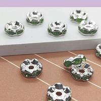 Strass plateado con cristales verdes claro, 8 mm, set de 10 unidades