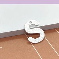 Letra S, baño de plata, 15 x 12 mm, por unidad