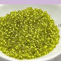 mostacilla amarillo cristal de 8/0 (3 mm), set de 50 grs
