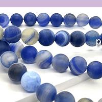 Agatas, Agata frosting 8 mm, tonos azules, tira de 47 piedras aprox