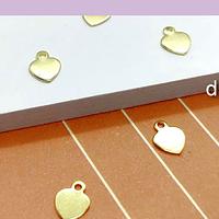 Dije corazón baño de oro, 7 x 5 mm, set de 5 unidades