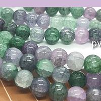 Perla de vidrio imitación piedra de 8 mm, tira de 55 píedras aprox.