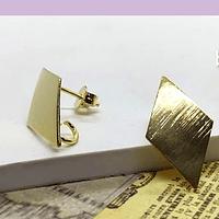 Base de aro baño de oro, 20 x 11 mm, set de 6 pares (por mayor)