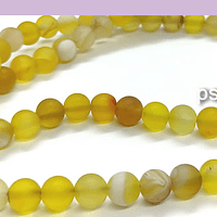 Agatas, Agata frosting de 6 mm, en tonos amarillos, tira de 64 piedras aprox