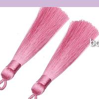 Borla gruesa 1 era calidad, color rosado, 8 cm de largo, set de 2 unidades