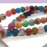 Agatas, Agata frosting de 6 mm, en multicolor, tira de 64 piedras aprox