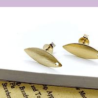 Base aro baño de oro, 17 x 6 mm, por par