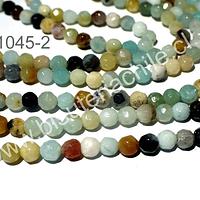 Amazonita facetada de 4 mm, tira de 90 piedras aprox.