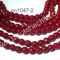 Agata 6 mm, en tono rojo duro, tira de 62 piedras