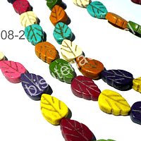 Perla de resina en forma de hoja multicolor, 9x13, tira de 30 piezas