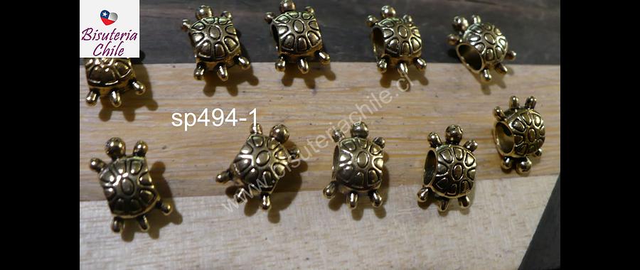 Separador dorado, en forma de tortuga, 12 x 7 mm, set de 10 unidades