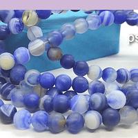 Agatas, Agata frosting de 6 mm, en tonos azules, tira de 64 piedras aprox