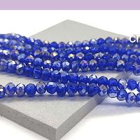 Cristal azul con brillos  plateados de 4 mm, tira de 125 cristales aprox