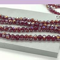 Cristal rojo con brillos plateados de 4 mm, tira de 125 cristales aprox