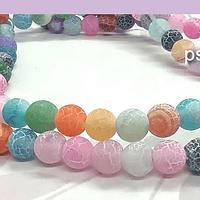 Agatas, Agata frosting de 6 mm, multicolor, tira de 64 piedras aprox