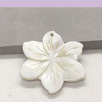 Colgante flor de nacar, 25 mm, por unidad