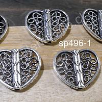 Separador plateado en forma de corazón, 12 x 19 mm, set de 6 unidades
