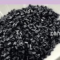 Mini canutillo negro 6 x 1,5 mm, set de 25 grs