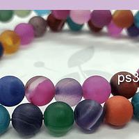 Agatas, Agata frosting 8 mm, multicolor, tira de 47 piedras aprox