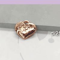 Dije corazón baño de cobre, 13 x 15 mm, por unidad