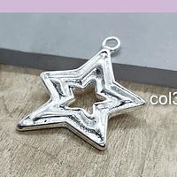 Colgante baño de plata en forma de estrella, 30 x 25 mm, 6 unidades (por mayor)
