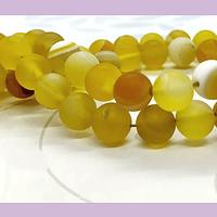 Agatas, Agata frosting 8 mm, en tonos amarillos, tira de 47 piedras aprox