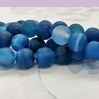 Agatas, Agata frosting 8 mm, en tonos azules, tira de 47 piedras aprox