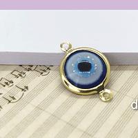 Dije doble conexión ojo turco, con borde baño de oro, 12 x 20 mm, por unidad