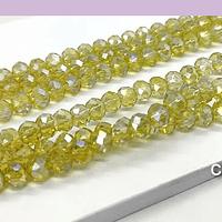 Cristal facetado en color amarillo claro tornasol de 6 mm, tira de 94 cristales aprox.