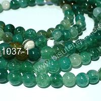 Agata lisa de 6 mm, en tonos verdes, tira de 63 piedras aprox