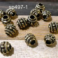 Separador dorado, 7 mm de diámetro, agujero de 3 mm, set de 16 unidades