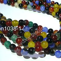 Agatas, Agata lisa de 6 mm, en tono multicolor, tira de 63 piedras aprox