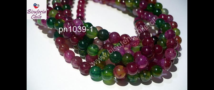 Agata lisa de 6 mm, en tonos verdes y fucsias, tira de 63 piedras aprox